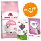 2 kg Royal Canin Kitten + 400 g Concept for Life és Hill's Kitten
