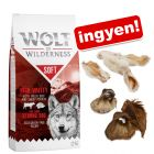 12 kg Wolf of Wilderness + 220 g snack-fül ingyen!