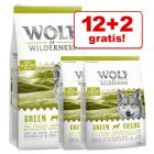 12 + 2 kg zdarma! 14 kg Wolf of Wilderness granuly