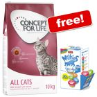 9kg/10kg Concept for Life Dry Cat Food + Animonda Milkies Mixed Pack Free!*