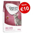 9kg/10kg Concept for Life Dry Cat Food - Save €10!*