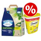 8L Catsan Natural + 350g Dreamies Mega Tub Cheese - Special Price!*