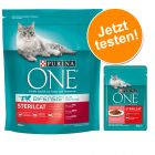 Lot Purina ONE : 800 g de croquettes + 6 x 85 g de pâtée pour chat