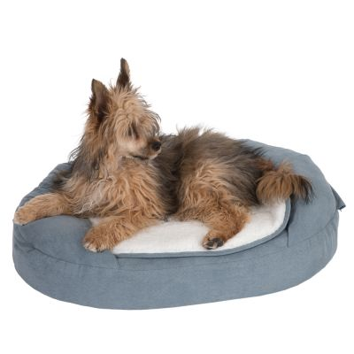 Oval Memory Foam Dog Bed - Grey