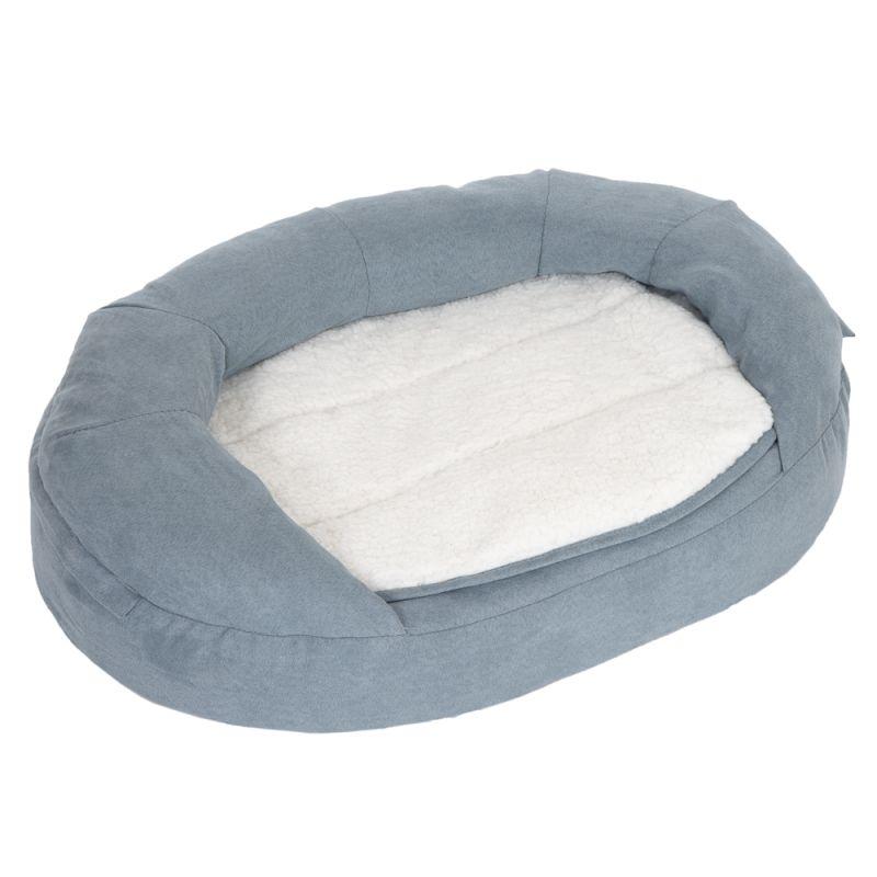Oval Memory Foam Dog Bed - Grey