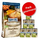 Pack gourmand 10 kg Happy Dog FlockenMixer + 6 boîtes de 400 g Happy Dog Pur