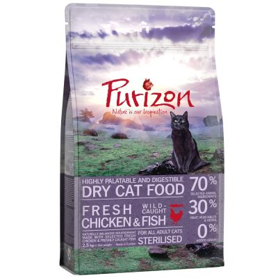 Purizon Adult Sterilised poulet, poisson - sans céréales pour chat