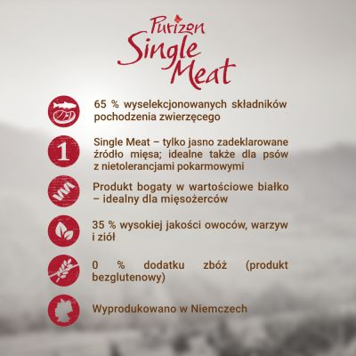 Purizon Single Meat Adult, jagnięcina z grochem, bez zbóż