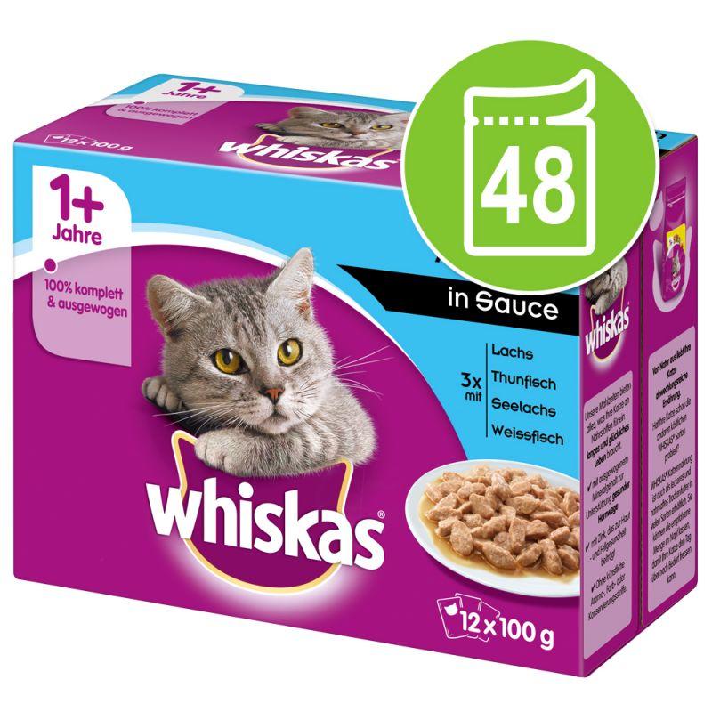 Säästöpakkaus: Whiskas 1+ Adult Pouches 48 x 85 g / 100 g