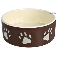 Trixie Brown Ceramic Bowl with Paw Prints