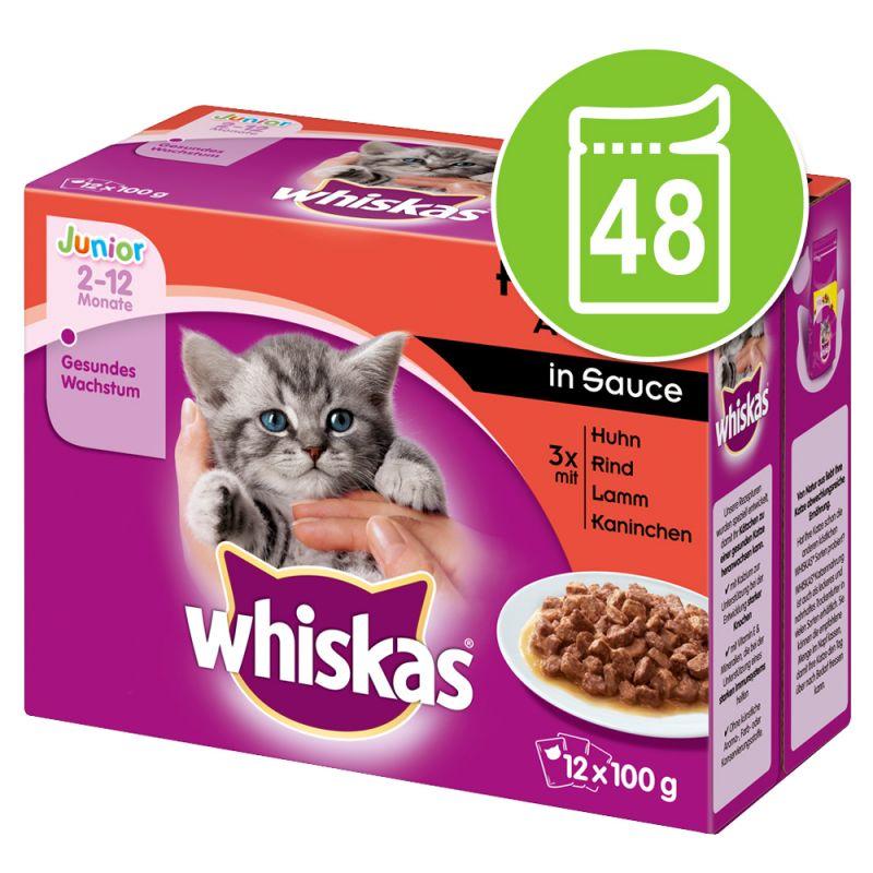 Whiskas Junior Pouches -säästöpakkaus 48 x 100 g