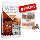 Wolf of Wilderness: 12 kg tørrfôr + Frysetørket snacks gratis!