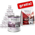 Wolf of Wilderness: Nassfutter 24 x 800 g + 1 kg Trockenfutter gratis!