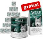 Wolf of Wilderness: Nassfutter 24 x 800 g + gratis 1 kg Trockenfutter