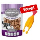 3 x 100g Greenwoods Nuggets Dog Treats + Rubber Chicken Dog Toy Free!*