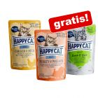 3 x 85 g Happy Cat Meat in Sauce & All Meat Mix gratis!