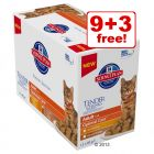 12 x 85g Hill's Science Plan Feline Pouches - 9 + 3 Free!*