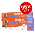 96 x 85g IAMS Delights Wet Cat Food Mega Pack!*