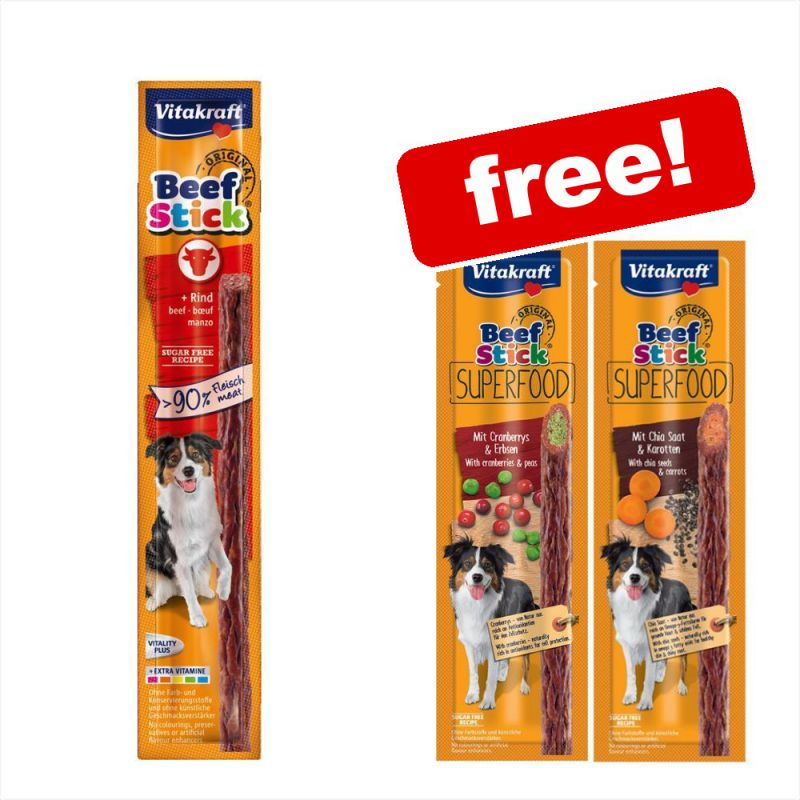 25 x 12g Vitakraft Beef-Sticks® + 2 x Beef Superfood Sticks Free!*