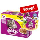 48 x 100g Whiskas Pouches + 2 Whiskas Snacks Free*