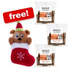 6 x 180g Wolf of Wilderness Natural Dog Treats + Christmas Bear Toy Free!*