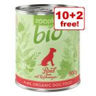 12 x 800g zooplus Bio Wet Dog Food - 10 + 2 Free!*