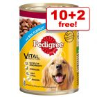 12 x 400g/800g Pedigree Wet Dog Food Cans - 10 + 2 Free!*