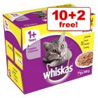 12 x 85g/100g Whiskas Wet Cat Food Pouches - 10 + 2 Free!*