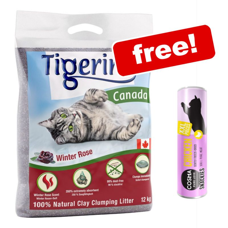 2 x 12kg Tigerino Canada Cat Litter + 30g Cosma Snackies XXL Chicken Free!*