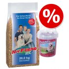 Znižana cena: 20 kg My Friend Futter + 500 g DogMio Snacks